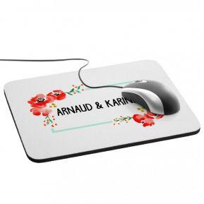 Tapis de souris fleurs aquarelle personnalisée