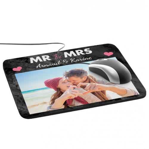 Tapis de souris photo Mr and Mrs avec photo