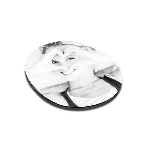 Tapis de souris rond imprimé noir et blanc