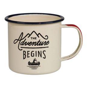 Mug émaillé The Adventure Begins crème