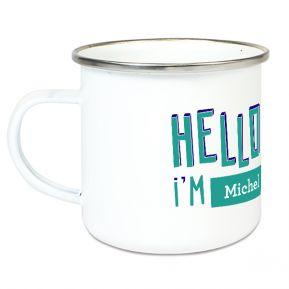 Tasse émaillée personnalisée HELLO