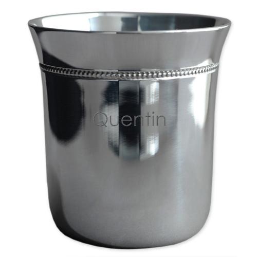 Timbale gravée évasée en métal argenté