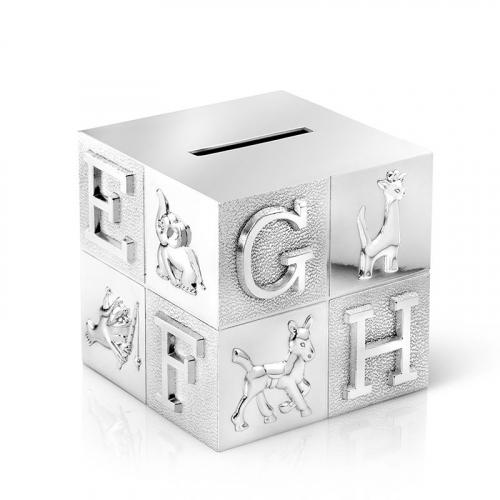 Tirelire cube alphabet gravée prénom