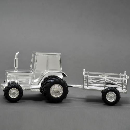 Tirelire tracteur argentée
