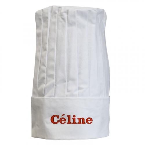 Toque de chef français blanche personnalisée d'un prénom