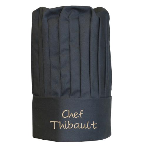 Toque de chef français noire personnalisée d'un prénom