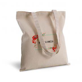 Tote bag deluxe fleurs aquarelle personnalisé