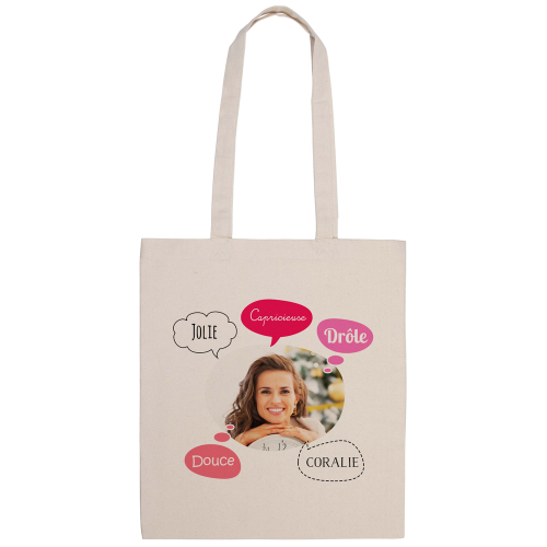 tote bag naturel imprimé photo bulles