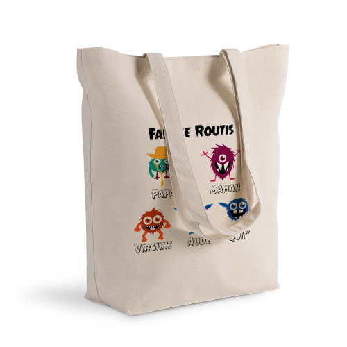 Tote bag my monster family personnalisé
