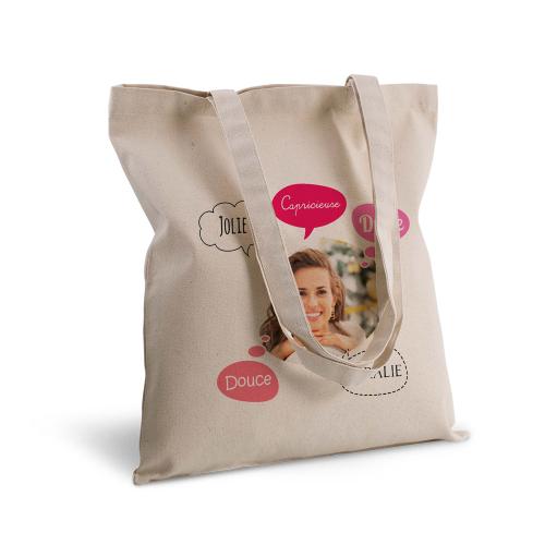 tote bag personnalisé avec une photo et des bulles
