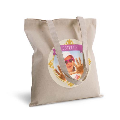 tote bag personnalisé avec une photo dans un cadre royal