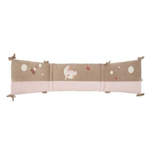 Tour de lit petit ours rose brodé
