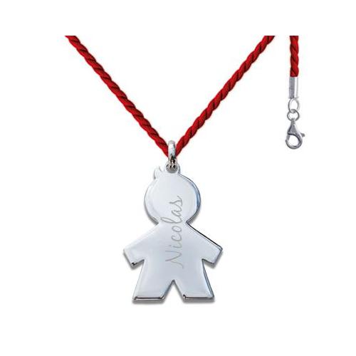 Médaille chérubin garçon sur cordon tressé rouge