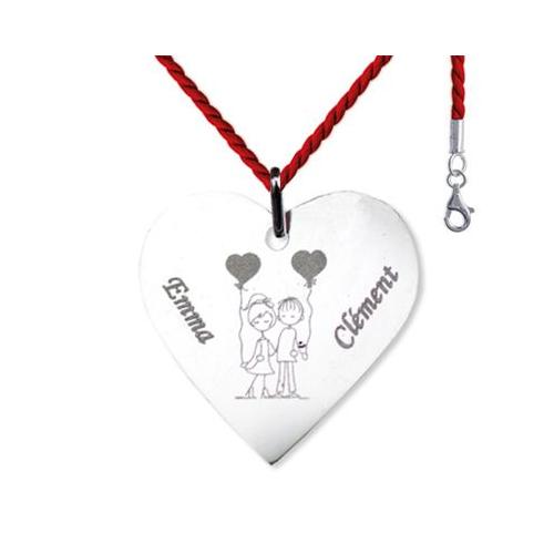 Pendentif grand coeur gravé de prénoms et d'un dessin