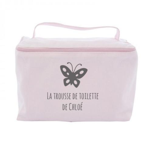 Trousse de toilette vanity personnalisée rose pâle