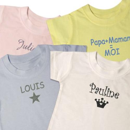 T shirt pour bébé brodé