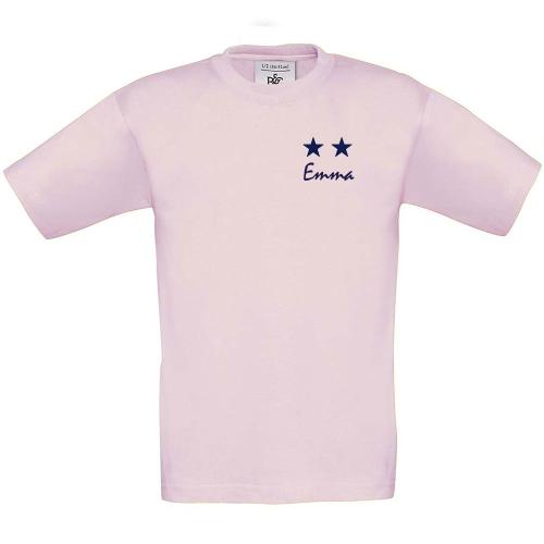 T-shirt enfant personnalisé 2 étoiles rose