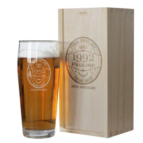 Coffret verre à bière anniversaire
