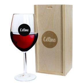 Verre à vin rond noir prénom