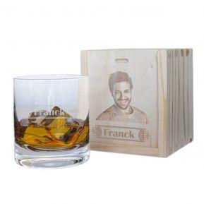 Verre à whisky prénom et son coffret photo