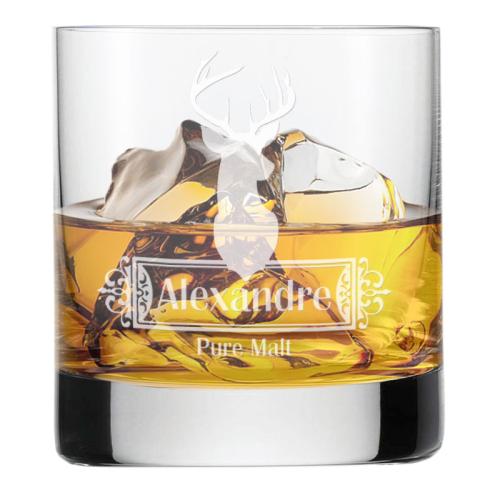 Verre à whisky cerf gravé