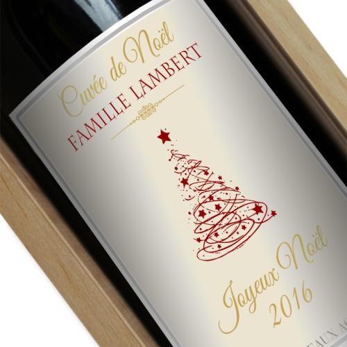 Bouteille de vin personnalisée pour Noël