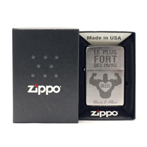 Zippo® chrome personnalisé pour papa