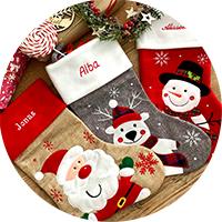 Bottes de Noël personnalisées et bonnets de Noël brodés