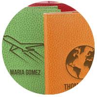 Accessoires de maroquinerie personnalisés avec motif et texte au laser