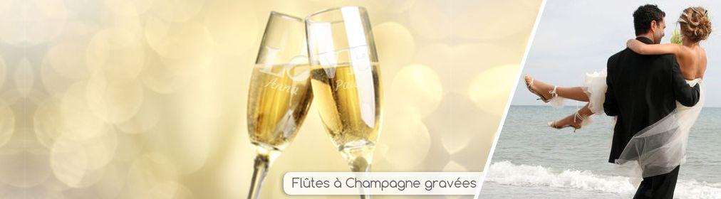 Flûte à champagne duo gravées