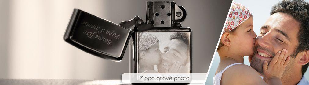 Briquet zippo gravé photo