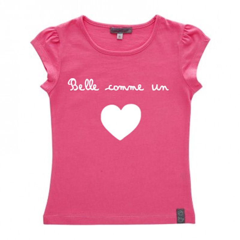 Tee shirt fille coton bio personnalis avec texte et motif amikado - T shirt personnalise photo et texte ...