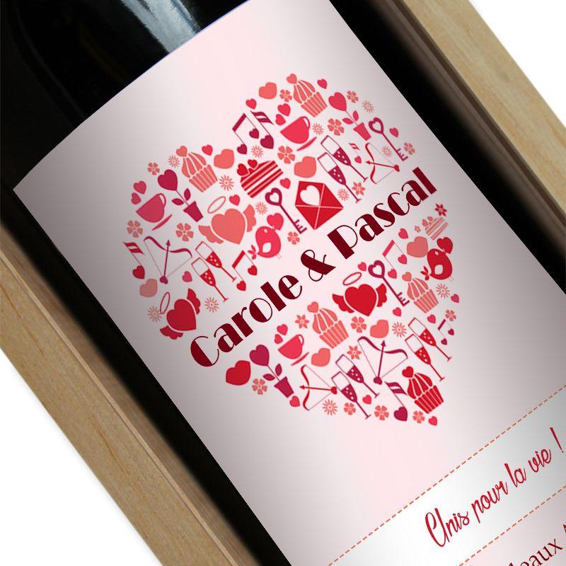 Bouteille de vin personnalisée coeur prénom