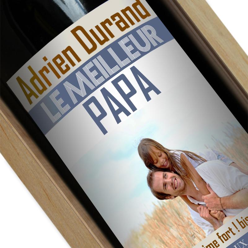 Bouteille de vin personnalisée papa photo
