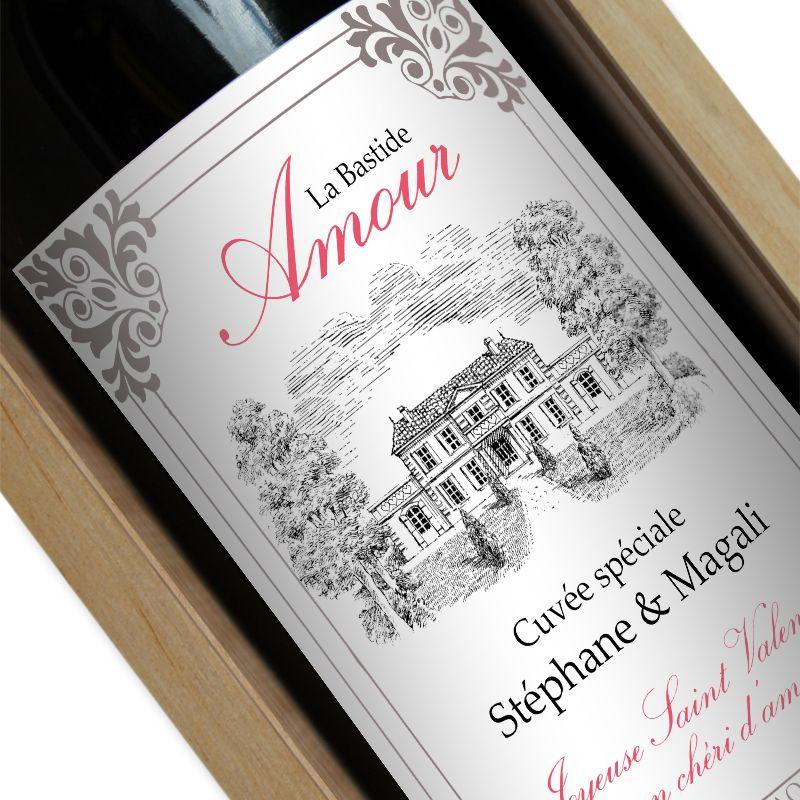 Bouteille de vin personnalisée bastide amour