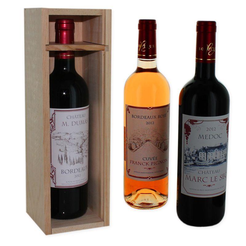 Vin personnalisé Bordeaux rouge avec étiquette