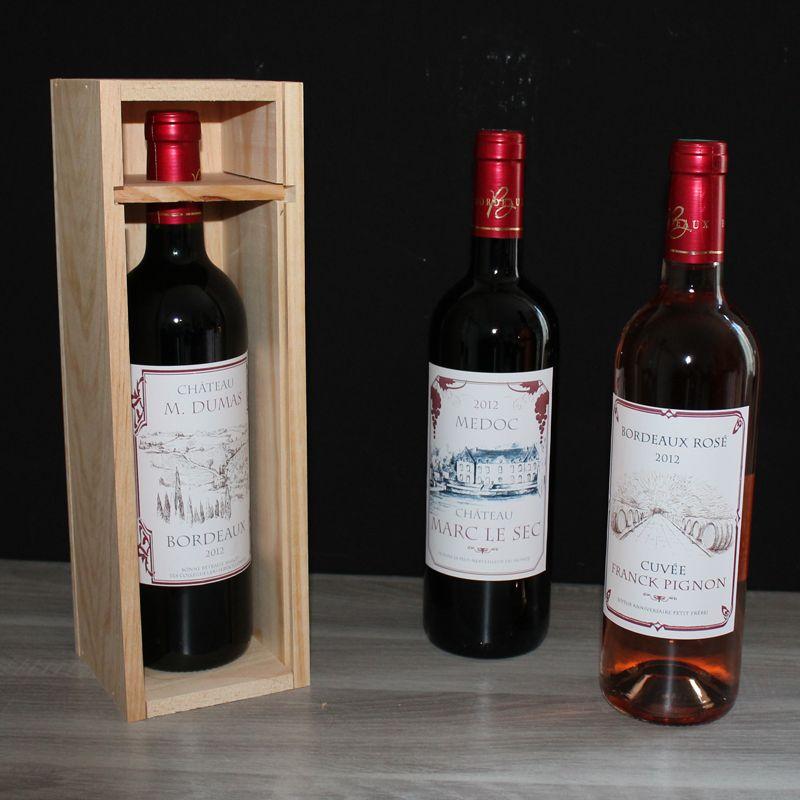 vin personnalis bordeaux rouge avec tiquette personnalis e amikado. Black Bedroom Furniture Sets. Home Design Ideas