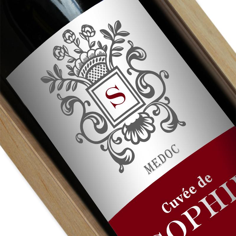 Bouteille de vin personnalisée ecusson