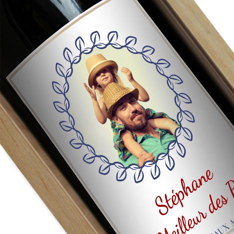 Bouteille de vin personnalisée photo lauriers