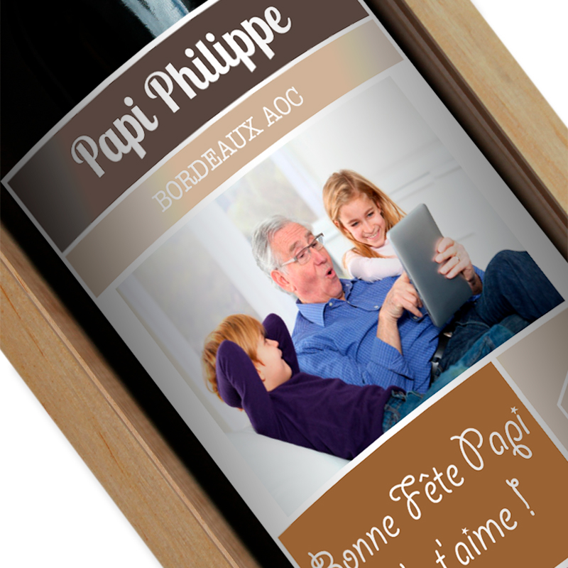 Bouteille de vin personnalisée étiquette photo