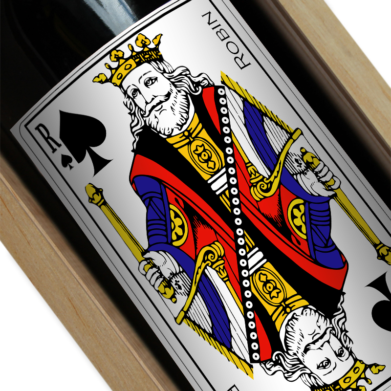 Bouteille de vin personnalisée jeu de cartes