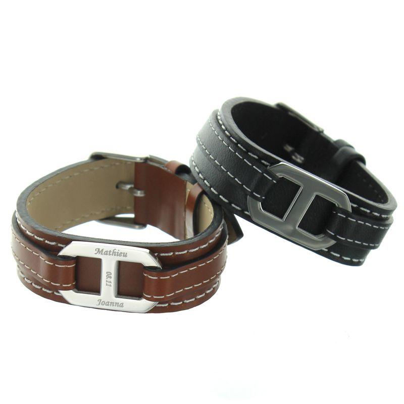 bracelet cuir ancre grav e une id e de cadeau original amikado. Black Bedroom Furniture Sets. Home Design Ideas