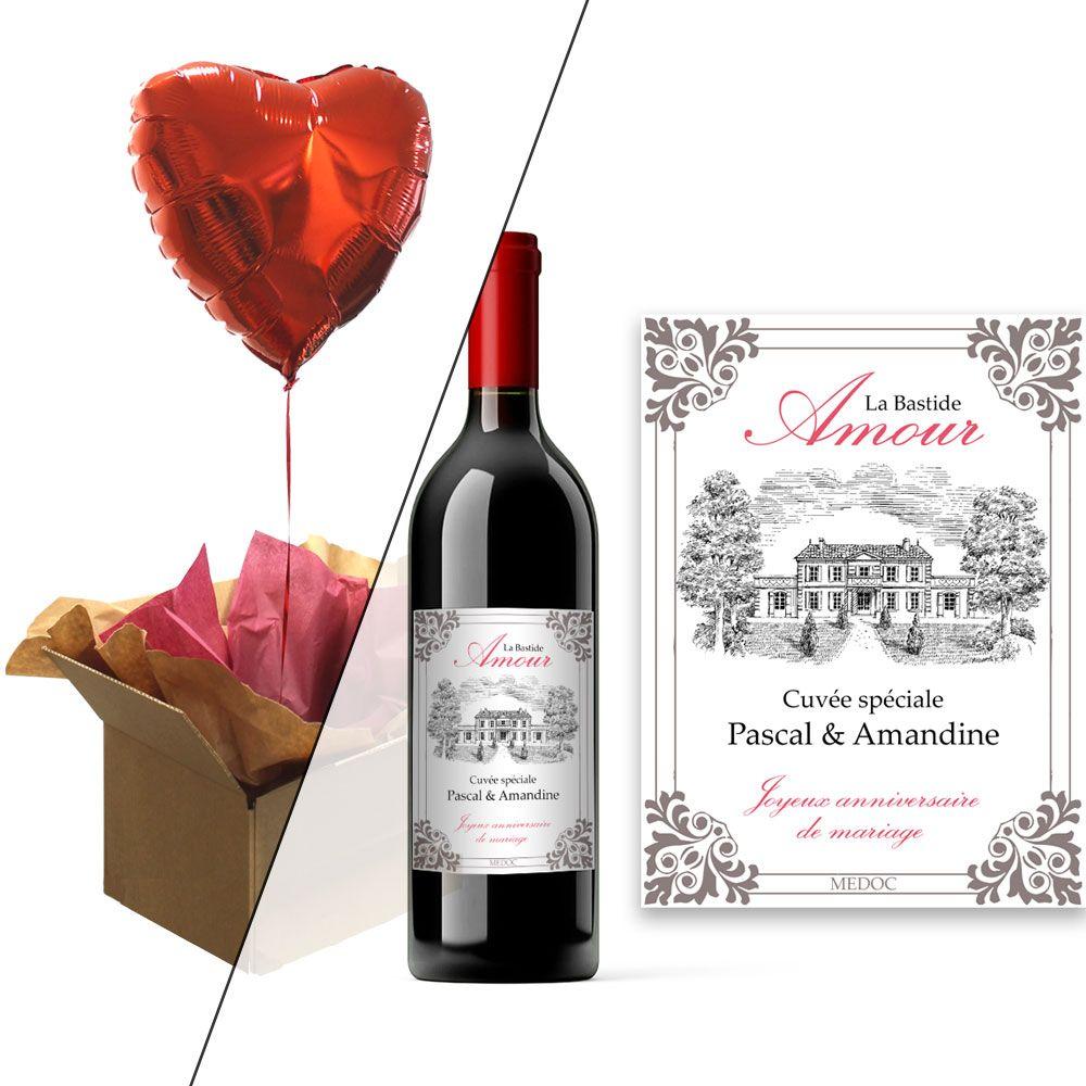 Bouteille de vin personnalisée + ballon coeur