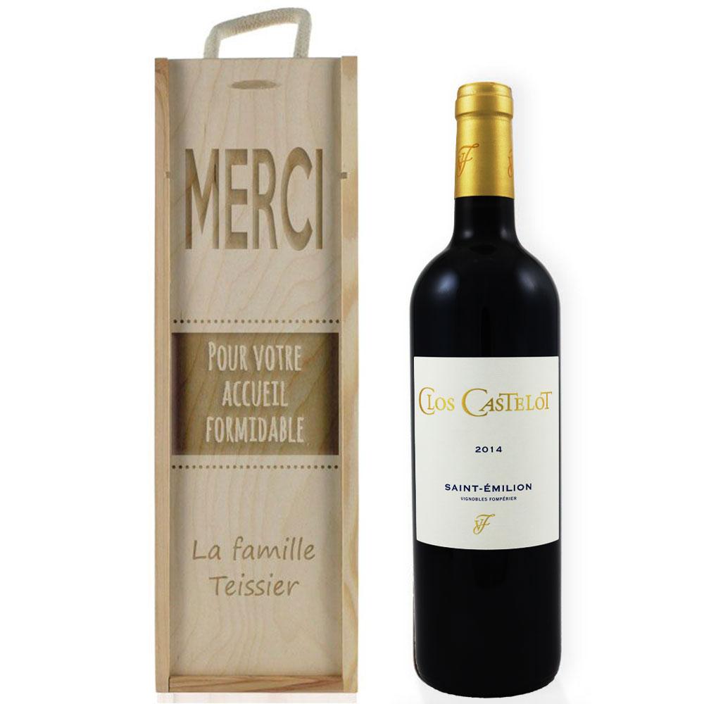 Caisse À vin graphique gravée