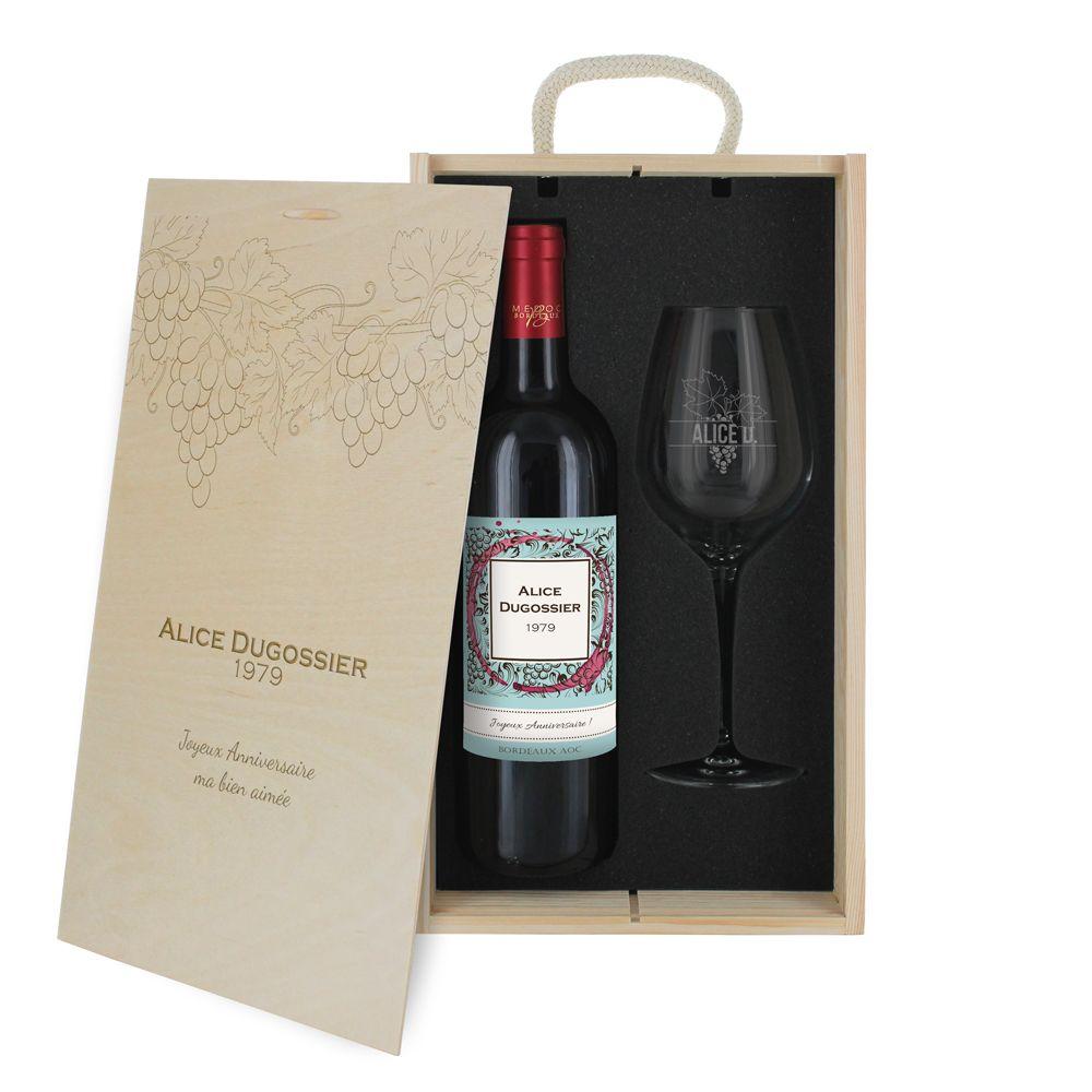 Coffret à vin 2 pièces personnalisé Vignoble