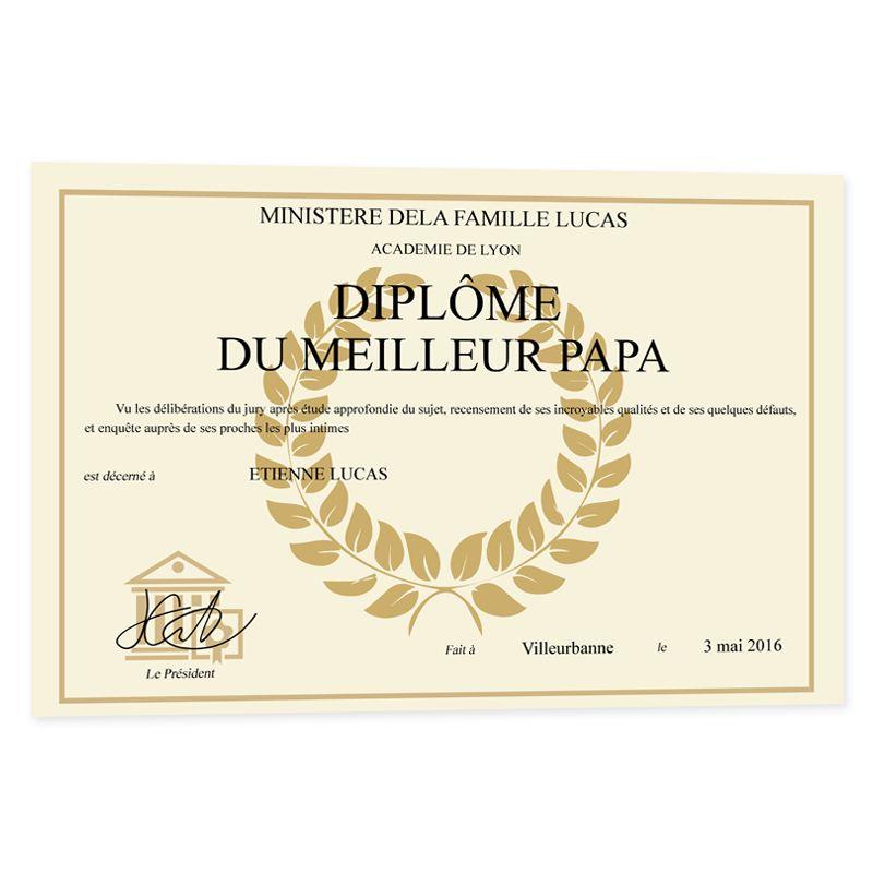 Faux dipl me personnalis amikado - Diplome du super papa a imprimer gratuit ...