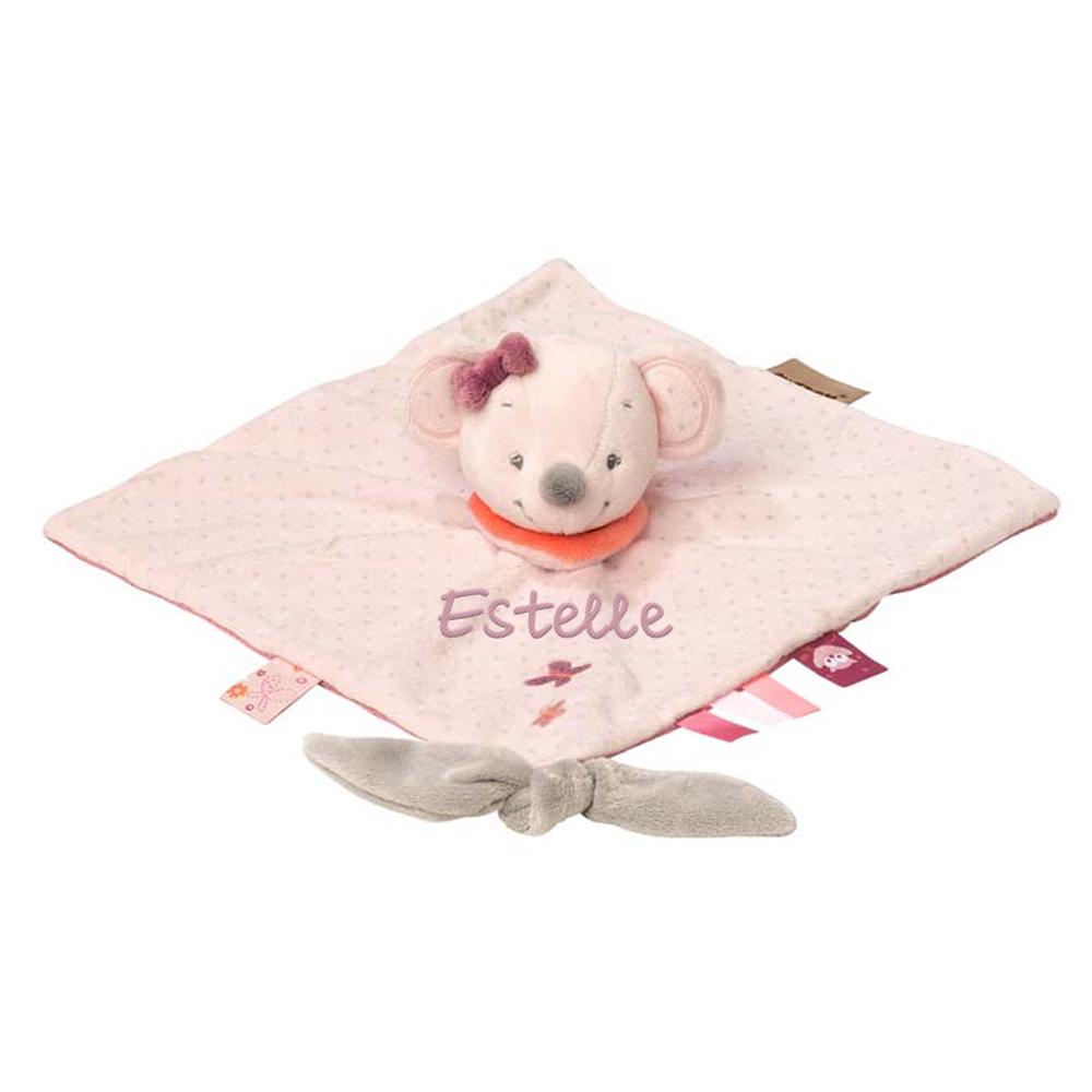 Doudou souris rose personnalisé