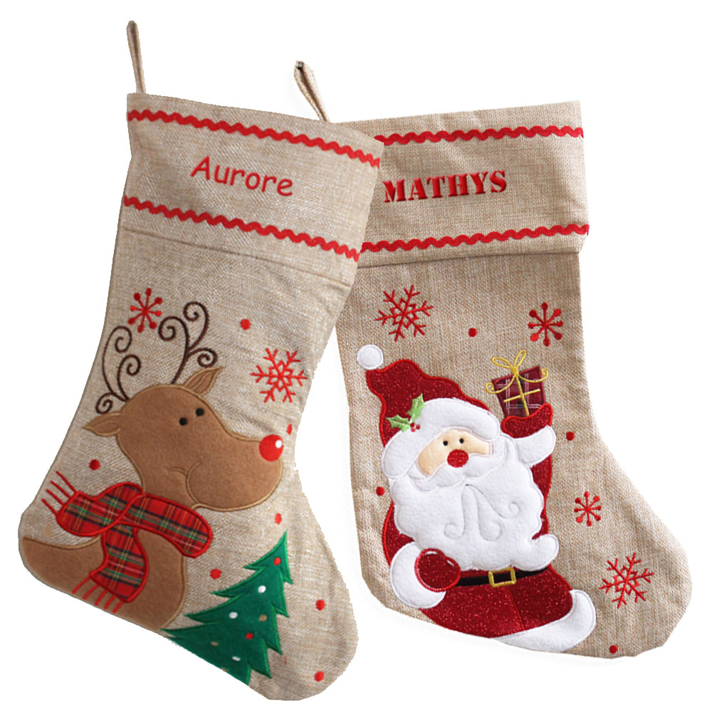 d068ae1febe49 Chaussette de Noël en Lin personnalisé au prénom