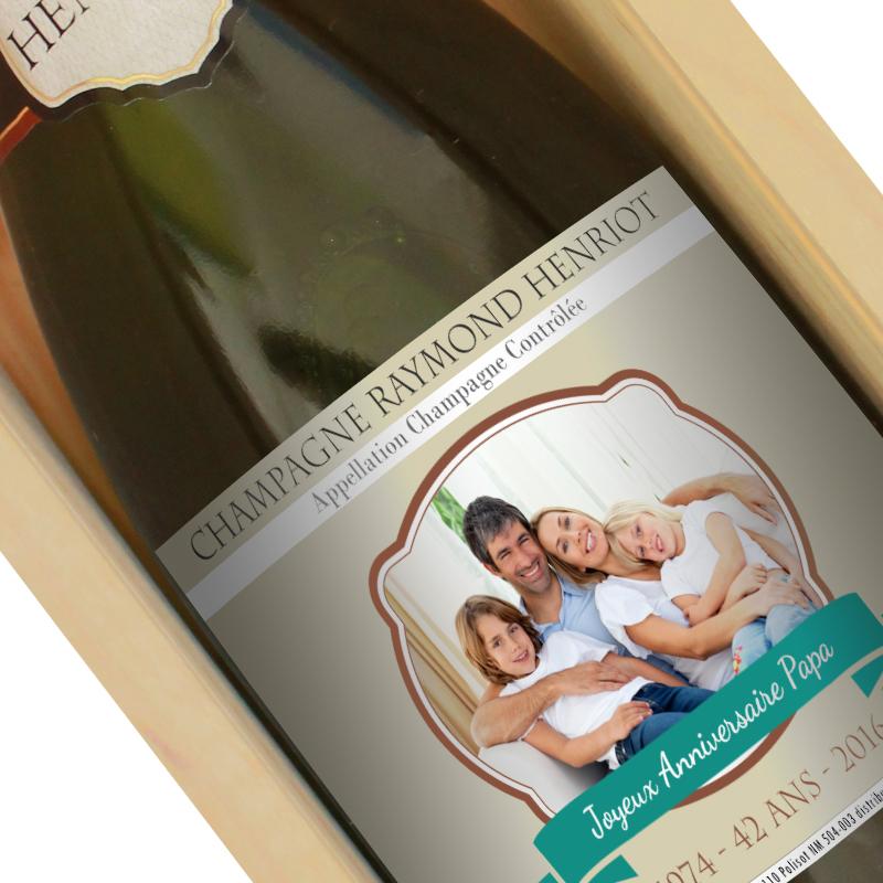 Bouteille de champagne personnalisée ecusson photo