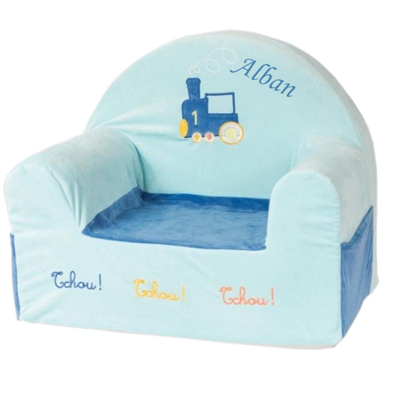 fauteuil club b b train personnalis une id e de cadeau original amikado. Black Bedroom Furniture Sets. Home Design Ideas